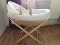 Moses basket with wooden stand