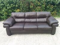 Brown leather sofa, 3 seater.