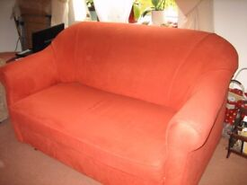 SOFA/BED, Burnt Orange Colour, Suede Material to touch, V G C