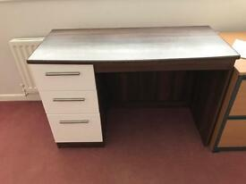 Wardrobe chest of drawers and desk white and brown wood