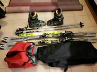 Skis, sticks and boots.