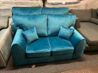 NEW - EX DISPLAY DFS KANSA TEAL VELVET CHENILLE 3 + 2 SEATER SOFA SOFAS 70% Off RRP SALE SALE