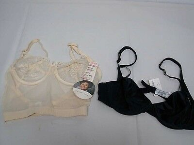 2 BLACK & IVORY BRAS OLGA TOUCH & DONNA KARAN 34 B ~ NEW WITH TAGS NWT -