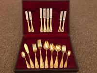 Gold plated cutlery dinner set 4 places