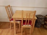 IKEA Norden Table 75cm x 75cm / dining table with two chairs and cushions