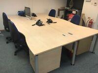Four office desks