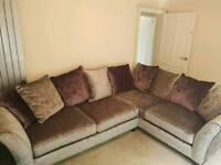 Large DFS crushed velvet corner sofa