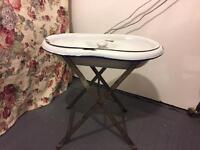 Antique baby bath metal with stand and lid