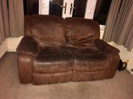 Brown large leather/ suede sofas x3