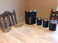 Coffe, tea, sugar and bread set with fruit bowl and utensil holder
