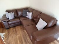 Brown leather corner sofa (modular)