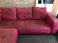 Pink 4 seater corner couch/sofa