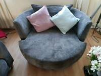 DFS Snuggle chair, 2 seat sofa & foot stool