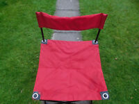 TWO RED FOLDING CAMPING /BEACH CHAIRS WITH CARRY BAG