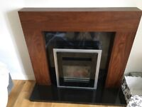 Electric remote control fire, hearth and fireplace