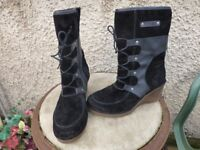 Josef Seibel Boots Wedge Heel- Size 4-Suede &Leather-Ankle-Black-£12- +£3-P&P