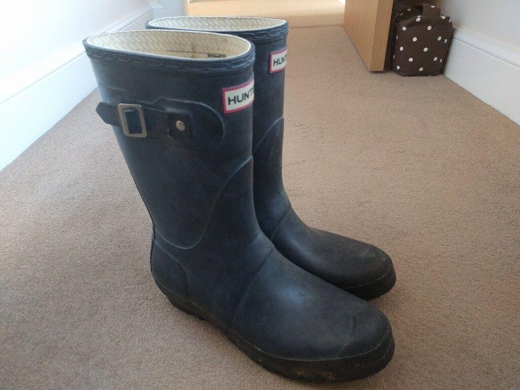 Short Hunter Wellington Boots - Navy Wellies - Ladies Size 7