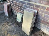 8 red and yellow paving slabs