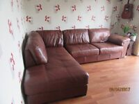 LEATHER CHAISE SOFA - LEFT HAND FACING AND STORAGE FOOTSTOOL (CHESTNUT)