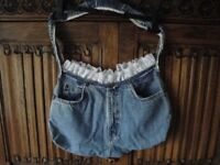 Lace-topped denim bags.