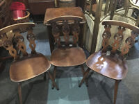 Striking Set of 3 Vintage Retro Ercol Old Colonial Model 375 Fleur De Lys Kitchen/Dining Chairs