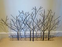 A CONTEMPORARY METAL TREE AND FENCE - WALL ART WALL HANGING