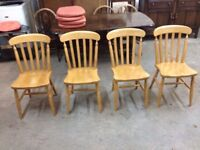 SET OF FOUR SOLID BEECH WOOD FARMHOUSE KITCHEN DINING CHAIRS~~ CAN DELIVER TO WEST MIDLANDS