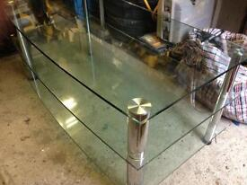 glass coffee table/tv unit and side table