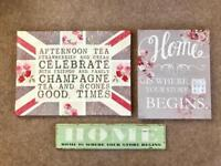 Set of three wall art canvases / wooden sign signs picture canvas
