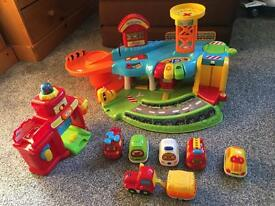 VTech drivers toot toot garage, fire station and cars