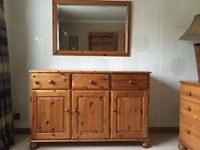 Solid Pine 3 door / 3 drawer sideboard with bun style feet c/w marching mirror