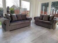 New 3 2 Grey Plush Velvet Sofas Free Delivery