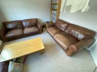 Two 2 Seater Brown Leather Sofas (FREE)