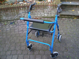Mobility Rollator, Walking Frame, 4 Wheeled walker, with seat basket and tray