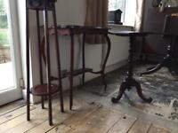 Mahogany side tables and plant stand