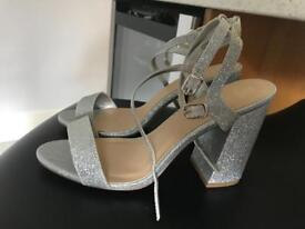 Silver New Look Heels - Size 6