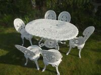 LARGE VINTAGE GARDEN FURNITURE SET - TABLE AND 6 CHAIRS - CAST ALUMINIUM -