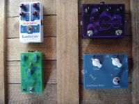 overdrive, distortion, octave fuzz, fuzz, synth, compressor, feedback looper, blender, guitar pedals