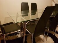 Chrome glass top table + 6 chairs
