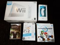 Nintendo Wii console with games and accessories