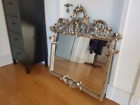 LARGE SILVER ANTIQUE ROCOCO-STYLE WALL MIRROR