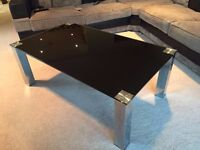 Black/Silver glass coffee table