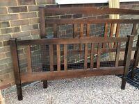 Dark hardwood king size bed frame
