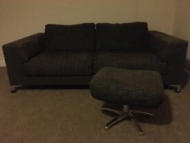Nearly new 3 seat sofa and footstool