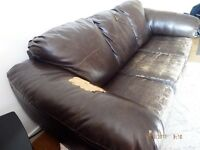 COFFEE BROWN SOFA BED/CHAIR (AS IS) CONDITION