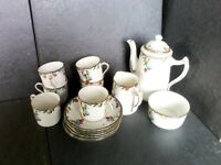 Sampson smith Wetley 1930 vintage bone china coffee set, in plums patten