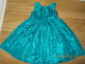 girls turquoise green sequined christmas 3 -4 yearsparty dress aged