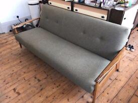 Mid century modern 4 seater green wool sofa