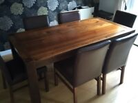 Walnut Dining Table and 6 brown leather chairs