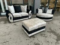 Ex Display Velvet 3 Seater + Cuddle Chair + Footstool Can Deliver Anywhere Same Day
